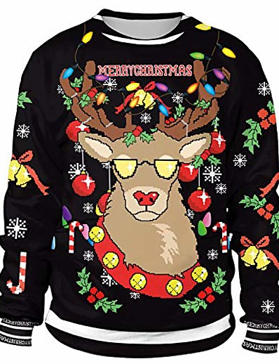 cheap NEW IN-ugly christmas sweatshirt for women mens funny novelty reindeer animal xmas sweater shirt pullover - l