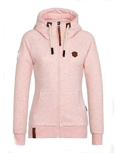 cheap OUTERWEAR-Women's Zipper Teddy Coat Regular Solid Colored Daily Basic Cotton Yellow Blushing Pink Wine Fuchsia S M L XL / Slim