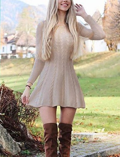 cheap Casual Dresses-Women's Short Mini Dress Sweater Jumper Dress Wine Gray Khaki White Long Sleeve Solid Color Round Neck Fall Going out Casual 2021 Slim S M L XL XXL