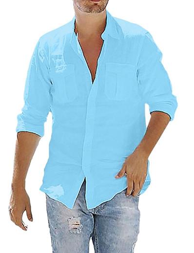 abordables HOMME-hommes henley chemises en lin à manches longues été plage décontracté zip lâche t-shirts gris