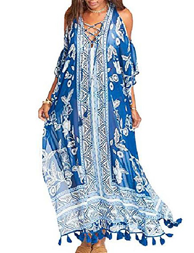 cheap Cover Ups-women's print turkish kaftans chiffon caftan loungewear beachwear bikini swimsuit cover up dress (blue c)