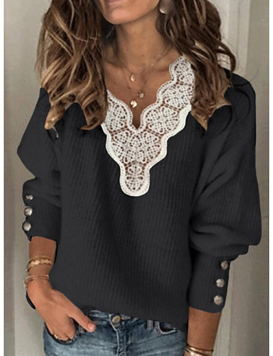 cheap 11/18/2020-Women's Knitted Lace Trims Solid Color Jumper Cotton Long Sleeve Sweater Cardigans V Neck Fall Winter White Black Blue