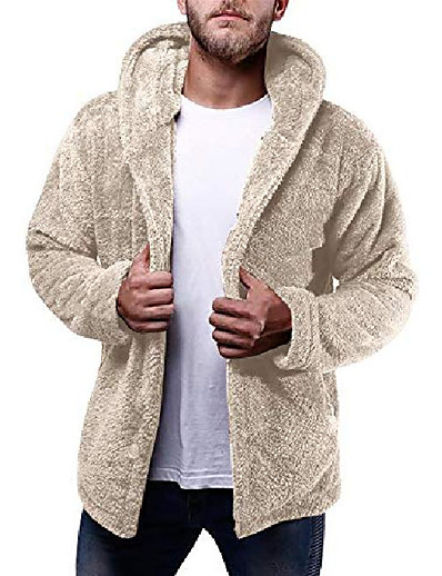cheap Men's Outerwear-mens fuzzy coat hooded sherpa jacket fleece cardigan button down fluffly thick warm winter outwear brown