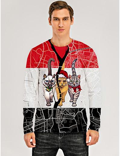 cheap MEN-Men's 3D Graphic Animal T shirt Print Long Sleeve Christmas Tops Round Neck Red / White