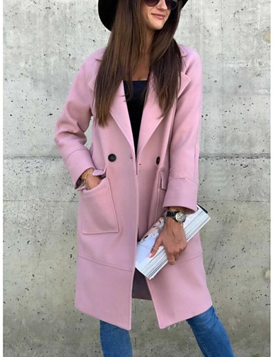 cheap Outerwear-Women's Pea Coat Solid Colored Basic Fall & Winter Long Going out Long Sleeve Cotton Blend Coat Tops Blushing Pink