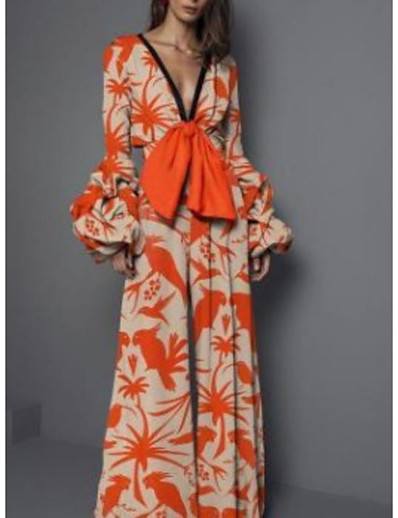 cheap Mini Dresses-Women's Sheath Dress Maxi long Dress Orange Long Sleeve Print Print Fall V Neck Elegant Sexy 2021 S M L XL XXL 3XL