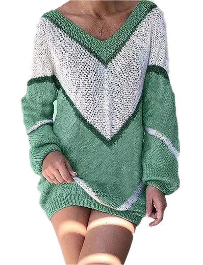 cheap NEW IN-Women's Knitted Color Block Pullover Long Sleeve Sweater Cardigans V Neck Fall Winter Blue Blushing Pink Green