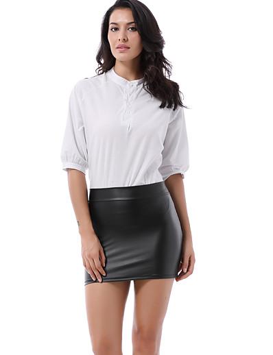 abordables Pantalons et Jupes Femme-crayon moulant brillant en cuir verni métallisé pour femme a-ligne mini-jupes clubwear clubwear argent one_size