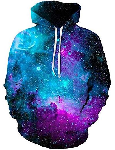 cheap Men's 3D-men's unisex hoodies sweatshirt pullovers 3d print tracksuit zip-up jacket,purple blue galaxy,m
