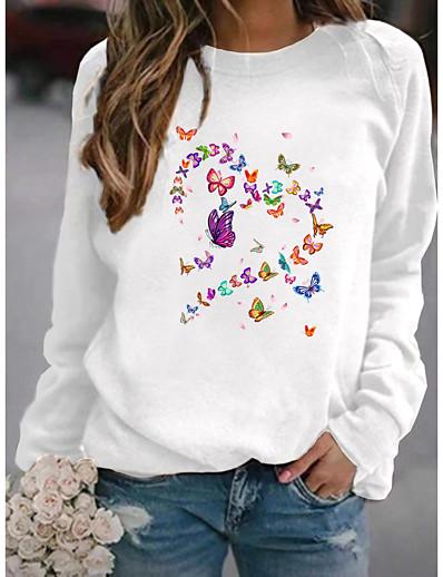cheap Hoodies & Sweatshirts-Women's Hoodie Sweatshirt Graphic Butterfly Heart Daily Basic Hoodies Sweatshirts  Yellow Blushing Pink Gray