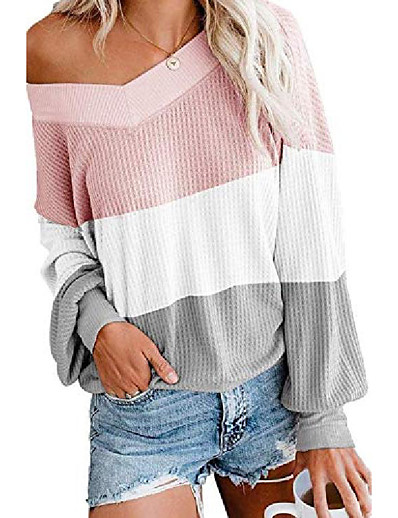 cheap Sweaters & Cardigans-sweaters for women v neck pullover long sleeve tunic scalloped hemline soft fashionable maternity clothes easy wearing comfy sweatertops for date pink s