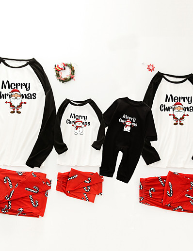 cheap Family Matching Outfits-Family Look Santa Claus Graphic Letter Print Long Sleeve Regular Regular Clothing Set White