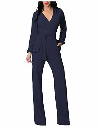 cheap JUMPSUITS & ROMPERS-fashion women solid v-neck lantern sleeve bandage pockets night club jumpsuits navy