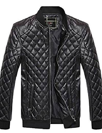 cheap Men's Outerwear-men's classic zip-up pu diamond quilted bomber jacket