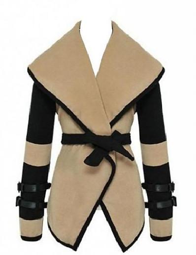 cheap OUTERWEAR-womens turn-down collar big lapel belted jacket coat outwear tops(j319)small -beige