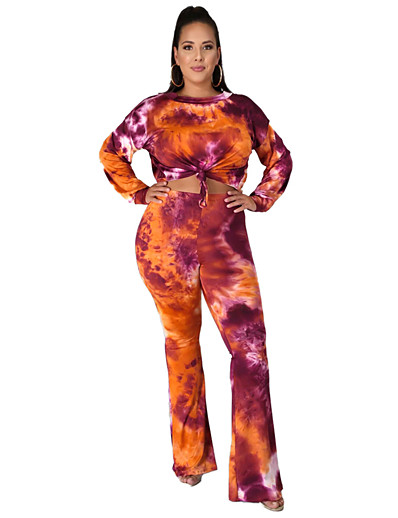 billige Jumpsuits i plusstørrelse til damer-Dame Batikkfarget Dagligdagstøy To-delt sett T skjorte Bukse Trykt mønster Topper