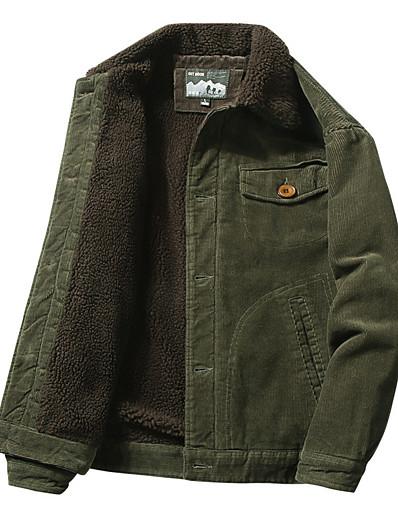 preiswerte Herren Überbekleidung-Vintage Vintage Slim Fit Fleece Sherpa gefüttert Cord Denim Trucker Jacke (Khaki, groß)