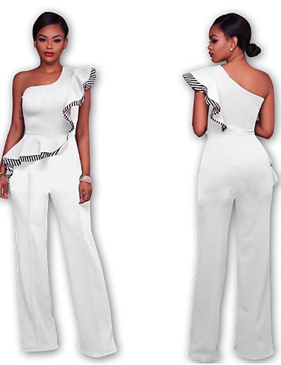 cheap JUMPSUITS & ROMPERS-elegant jumpsuits for women ruffle one shoulder high waist clubwear long wide leg pants jumpsuit rompers (black, s)