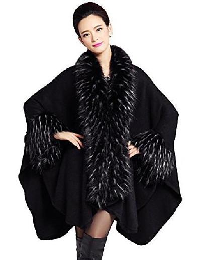 cheap Furs & Leathers-women's faux fur shawl pashmina cape cloak coat (one size, black)