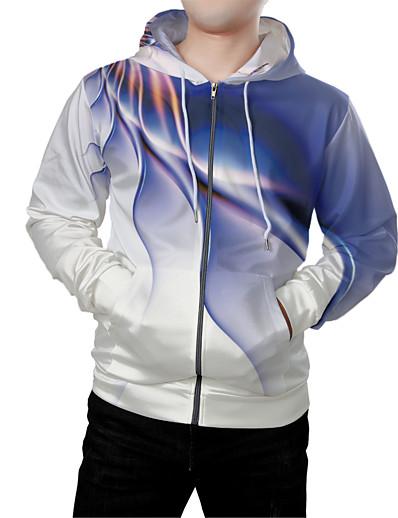 cheap Men's 3D-Men's Zip Up Hoodie Sweatshirt Graphic 3D Front Pocket Hooded Daily Weekend 3D Print 3D Print Hoodies Sweatshirts  Long Sleeve Blue