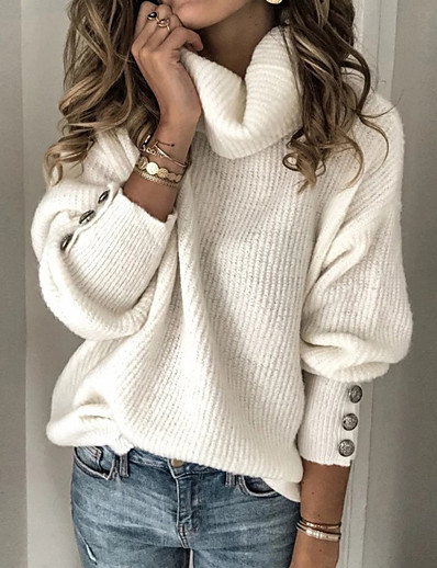 cheap Sweaters & Cardigans-Women's Stylish Solid Color Pullover Long Sleeve Sweater Cardigans Turtleneck Fall Spring Red gray White Black