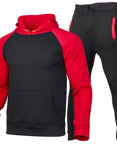 cheap Running, Jogging & Walking-Men's Patchwork Tracksuit Sweatsuit Street Athleisure 2pcs Winter Long Sleeve Windproof Breathable Soft Fitness Gym Workout Running Training Exercise Sportswear Hoodie Black / Red Black / Yellow