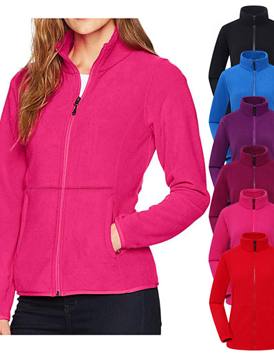 cheap Softshell, Fleece & Hiking Jackets-Women's Fleece Hiking Jacket Hiking Windbreaker Hiking Fleece Jacket Winter Outdoor Thermal Warm Windproof Warm Front Zipper Solid Color Full Zip Outerwear Trench Coat Top Camping / Hiking Hunting