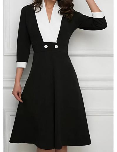abordables Robes mi-longues-Femme Robe Évasée Robe Longueur Genou - Manches 3/4 Couleur unie Patchwork Automne Col en V Grande occasion 2020 Noir S M L XL
