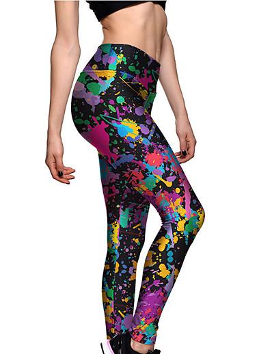abordables Leggings-Femme Sportif Confort Gymnastique Yoga Leggings Pantalon Multicolore Avec motifs Cheville Imprimé Arc-en-ciel