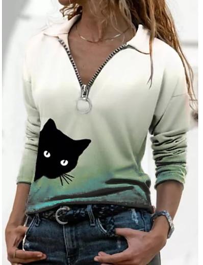 abordables Tee-shirts-T shirt Femme Quotidien Fin de semaine Dégradé de Couleur Chat Manches Longues Quarter Zip Col de Chemise Hauts Mince Haut de base basique Violet Rouge Vert
