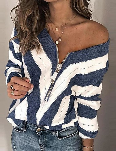 cheap NEW IN-Women's Stylish Knitted Striped Pullover Long Sleeve Sweater Cardigans V Neck Fall Winter Black Blue Red