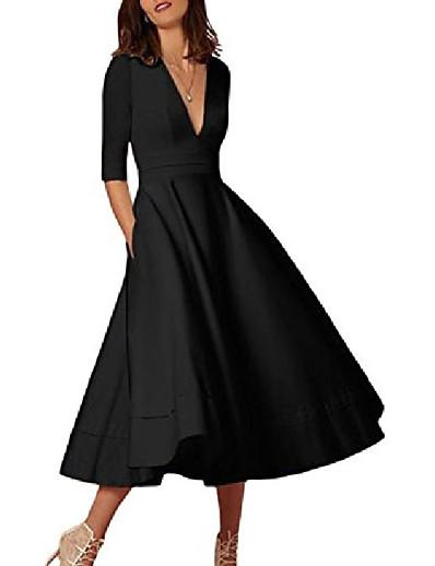 cheap Elegant Dresses-Women's A-Line Dress Midi Dress 3/4-Length Sleeve Solid Color Summer Classic & Timeless Chic & Modern 2021 Navy Creamy-white Pink White Black Blue Red Blushing Pink Wine S M L XL XXL XXXL