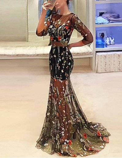 cheap Maxi Dresses-Women's Trumpet / Mermaid Dress Maxi long Dress - 3/4 Length Sleeve Floral Print Print Fall Sexy 2020 Black S M L XL XXL 3XL