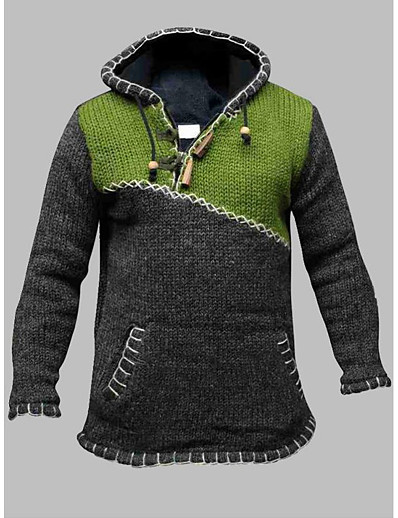 cheap Sweaters & Cardigans-Men's Knitted Color Block Pullover Long Sleeve Plus Size Sweater Cardigans Hooded Fall Winter Green