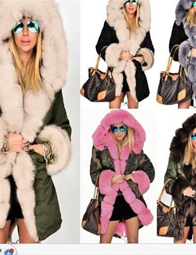 abordables Manteaux & Trenchs Femme-veste d'hiver pour femme en faux manteau à manches longues parka à capuche outwear (orange, m)