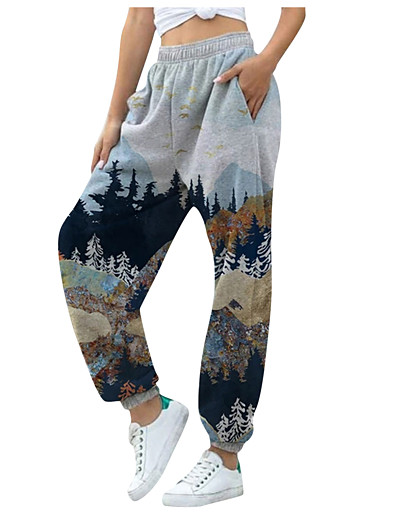 cheap Women's Bottoms-Women's Casual Chinoiserie Breathable Daily Jogger Pants Pants Patterned Gradient Full Length Print Gradient blue Gradient yellow Yellow