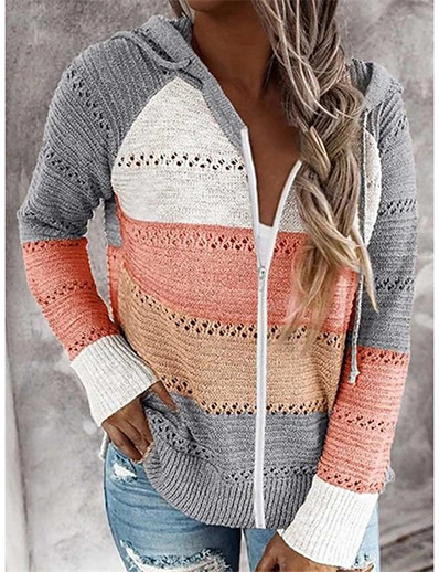 cheap Sweaters & Cardigans-Women's Basic Knitted Color Block Cardigan Long Sleeve Sweater Cardigans Hooded Fall Winter Blushing Pink Wine Orange