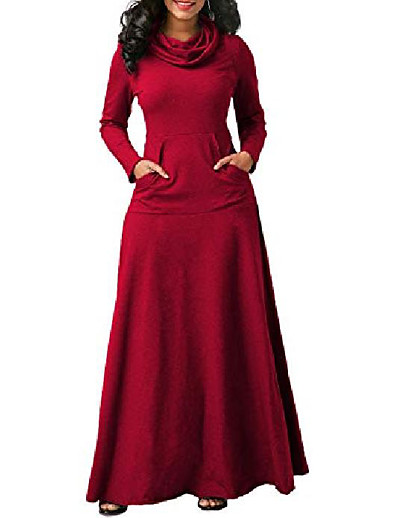 cheap Maxi Dresses-women's solid casual loose turtleneck long sleeve dress with pockets, burgundy, 5xl