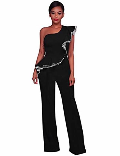 abordables Tendances 2021-Combinaisons élégantes pour femmes à volants une épaule taille haute clubwear pantalon à jambe large longue combinaison barboteuses (noir, s)