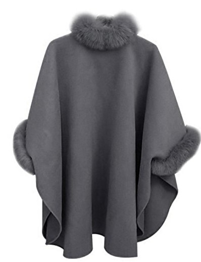 cheap Outerwear-women woollen cloak coat, faux fur poncho cape spring autumn warm faux fur batwing tops stole wrap jacket evening party elegant cardigan (m, grey)