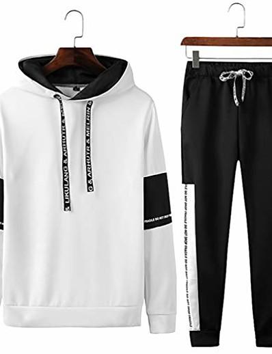 cheap Running, Jogging & Walking-spring autumn sportswear fitness tracksuit 2pc sweatshirt+sweat pants 738 white l