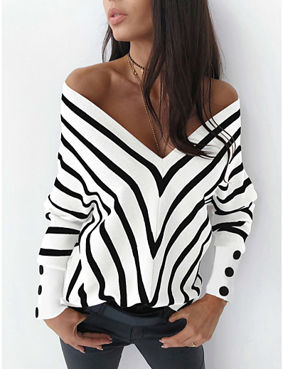 cheap Sweaters & Cardigans-Women's Deep V Stripe Color Block Pullover Long Sleeve Sweater Cardigans V Neck Fall Winter White Black Khaki