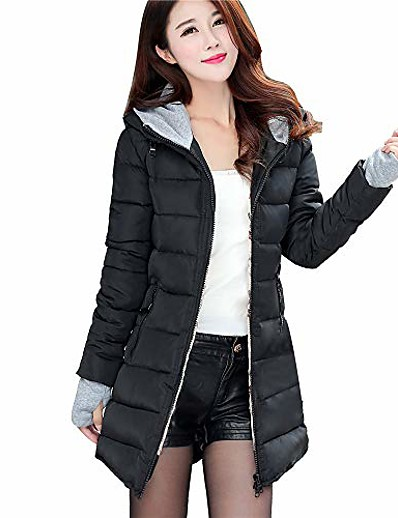 cheap OUTERWEAR-women long sleeve outerwear with gloves cotton-padded jackets pocket hooded coat(medium,black)