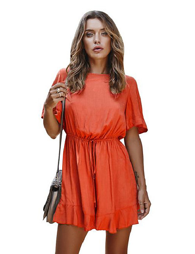 cheap JUMPSUITS & ROMPERS-womens solid summer elastic waist short sleeve loose fit short jumpsuit romper 2 xs
