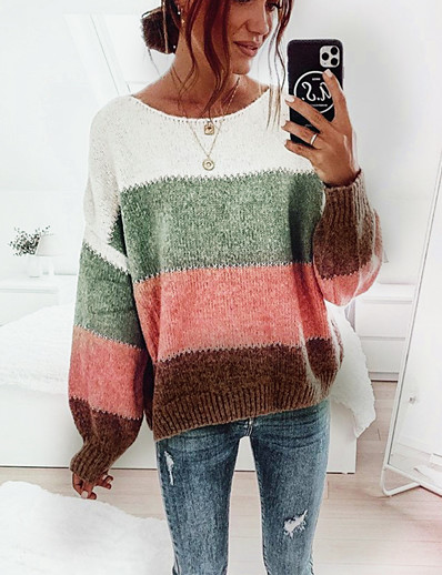 cheap Sweaters & Cardigans-Women's Basic Knitted Striped Pullover Acrylic Fibers Long Sleeve Sweater Cardigans Crew Neck Round Neck Fall Winter Black Wine Light Brown