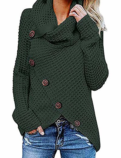 cheap Sweaters & Cardigans-button blouse for women plus size, women's long sleeve cowl neck irregular hem sweatshirt pullover tops t shirt green