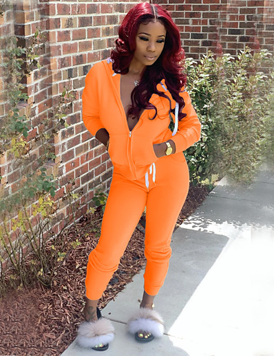 cheap JUMPSUITS & ROMPERS-Women's Plain Casual / Daily Two Piece Set Hooded Hoodie Pant Patchwork Tops / Slim