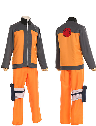 cheap Anime Cosplay-Inspired by Naruto Uzumaki Naruto Anime Cosplay Costumes Japanese Patchwork Cosplay Suits Coat Pants Long Sleeve For Men's Women's