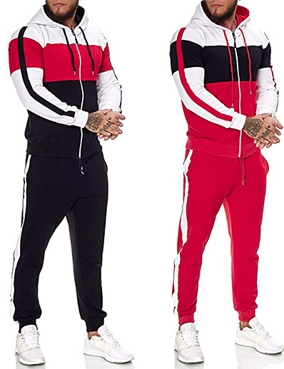 cheap Running, Jogging & Walking-Men's 2 Piece Full Zip Tracksuit Sweatsuit Street Casual 2pcs Winter Long Sleeve Thermal Warm Fitness Gym Workout Running Active Training Jogging Sportswear Normal Black Red Activewear Micro-elastic