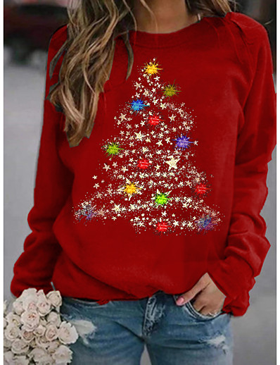 cheap CHRISTMAS-Women's Hoodie Sweatshirt Graphic Christmas Daily Basic Christmas Hoodies Sweatshirts  Wine Black Red